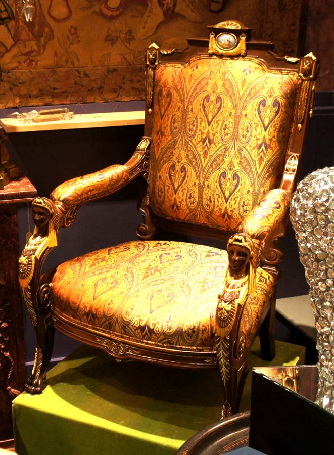 A Pair (2) Of Identical Rosewood And Parcel Gilded Egyptian Revival  Armchairs With Porcelain Plaque Inserts. Either Made By The NYC Workshop Of  Pottier ...