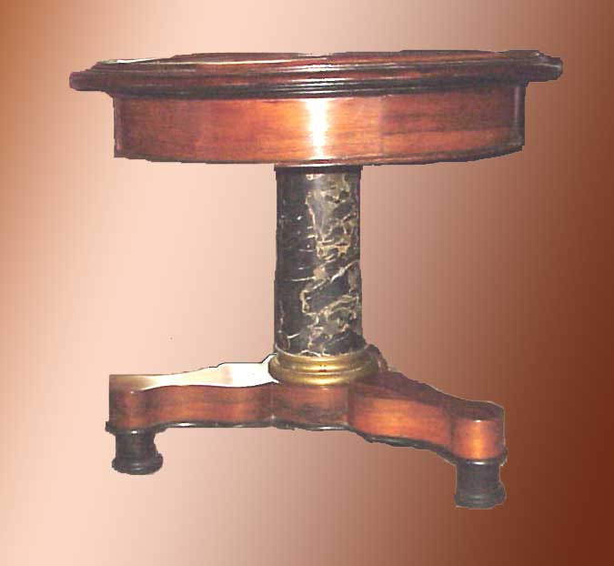 An American Empire Center Table Circa 1830 40 Rosewood Egyptian Marble Black Size 31 Tall 35 Across This Tri Foot Base Has