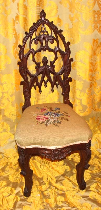 A pair (2) of Rococo/Gothic parlor chairs. Circa 1845-65. Black Walnut.  H.37
