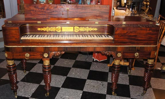 A fine and rare American Federal Era Piano Forte  manufactured by Loud  Brothers  of Philadelphia  Size  26  deep  36  tall and 68  long  73 keys. Antique Furniture Victorian  Modern Gothic   American Empire