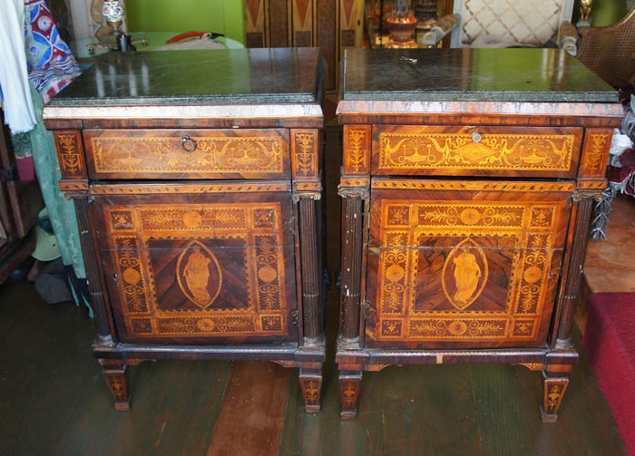 a pair of th century neopolitian petite commodes circa  size quot wide x quot tall and quot deep with the marble top extening quot past the back of : point furniture egypt x