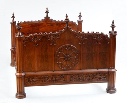 5763: An American Mahogany Gothic Bed. Size: 52 x 65 x 87 in. We purchased  this bed around 1989 from an antiques dealer in Bar Harbor Maine. - Gothic Antique Furnishings Including Gothic Antique Chairs, Gothic