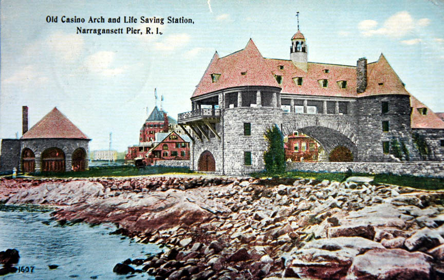 Old Arch And Life Saving Station Narragansett Pier R I Post Marked July 23 1910 We Are Having A Fine Time Just Live On The Beach